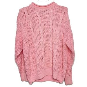 Vintage Forenza Cable Knit Pink Turtleneck Sweater